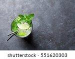 Mojito Cocktail On Dark Stone...