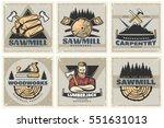Set Of Six Square Lumberjack...