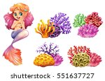 cute mermaid and colorful coral ... | Shutterstock .eps vector #551637727
