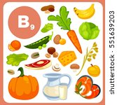 set of food with vitamin b12.... | Shutterstock .eps vector #551639203