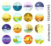 vector landscapes icons set.... | Shutterstock .eps vector #551641993