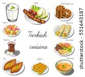turkish cuisine set. collection ... | Shutterstock .eps vector #551643187