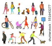 Stock vector set of people walking girl and young woman with buggy old man running boy with dog teenager on 551643277