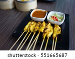 chicken satay with delicious...   Shutterstock . vector #551665687