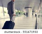 businessmen hands hold luggage... | Shutterstock . vector #551671933