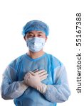 doctor put hands on chest - stock photo