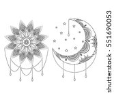 vector ornate vintage moon  sun ... | Shutterstock .eps vector #551690053
