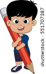 cute kid holding a big pencil... | Shutterstock .eps vector #551707387