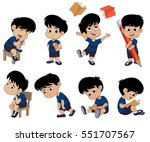 all of kids different pose... | Shutterstock .eps vector #551707567