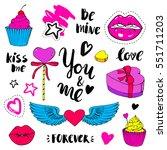 valentines day vector elements  ... | Shutterstock .eps vector #551711203