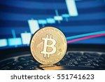 golden bitcoin coin on the...   Shutterstock . vector #551741623