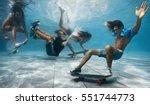 men and women skateboarding... | Shutterstock . vector #551744773