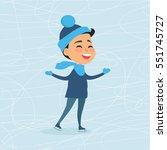 cartoon smiling boy on icerink... | Shutterstock .eps vector #551745727