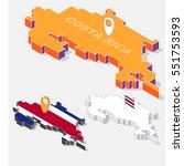 costa rica flag on map element... | Shutterstock .eps vector #551753593