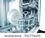 open dishwasher with clean... | Shutterstock . vector #551776243