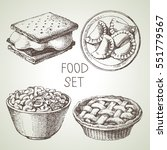 hand drawn food sketch set of... | Shutterstock .eps vector #551779567