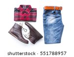 men's casual outfits with red... | Shutterstock . vector #551788957
