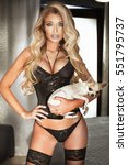 sexy blonde woman in black... | Shutterstock . vector #551795737
