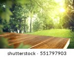 wooden desk of free space and... | Shutterstock . vector #551797903