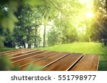 wooden table of free space in... | Shutterstock . vector #551798977