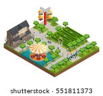 amusement park isometric... | Shutterstock .eps vector #551811373