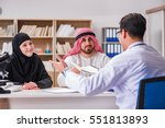doctor consulting arab family... | Shutterstock . vector #551813893