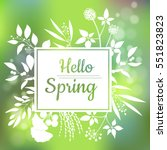 hello spring green card design... | Shutterstock .eps vector #551823823