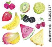watercolor set fruist hand... | Shutterstock . vector #551838337