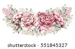 pink peonies and hyacinth ... | Shutterstock . vector #551845327