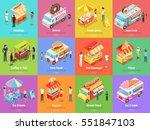 set of street food stores on... | Shutterstock .eps vector #551847103