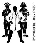 silhouette police man  fireman... | Shutterstock .eps vector #551847607