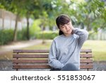 woman has neck pain | Shutterstock . vector #551853067