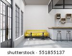 cafe with a large yellow sofa ... | Shutterstock . vector #551855137