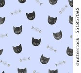 black cats and fish bones... | Shutterstock .eps vector #551857063