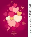 hearts with 3d effect and arrow ... | Shutterstock .eps vector #551861647