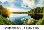 sunset on background of river... | Shutterstock . vector #551875507