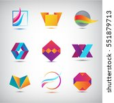 vector set of abstract logos ... | Shutterstock .eps vector #551879713