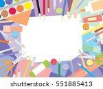 kids craft supplies background. ... | Shutterstock .eps vector #551885413