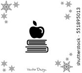 web icon. apple on books ... | Shutterstock .eps vector #551895013