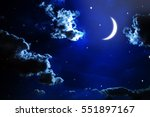 night sky with stars and moon | Shutterstock . vector #551897167