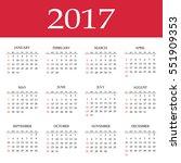 calendar for 2017 year. flat... | Shutterstock . vector #551909353