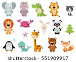big set isolated animals.... | Shutterstock .eps vector #551909917