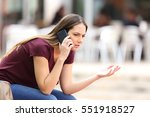 angry casual woman calling on... | Shutterstock . vector #551918527