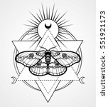 magic moth. esoteric symbol ... | Shutterstock .eps vector #551921173