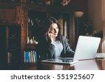 entrepreneur calling on phone... | Shutterstock . vector #551925607