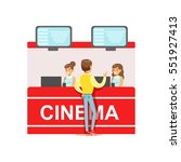 guy buying cinema tickets whom... | Shutterstock .eps vector #551927413