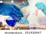 double exposure of scientist... | Shutterstock . vector #551930947