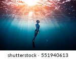 Woman Free Diver Ascending Fro...