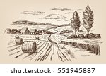 vector hand drawn village... | Shutterstock .eps vector #551945887