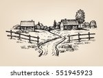 vector hand drawn village...